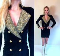 vtg 80s black NORTH BEACH Military DRESS Extra Small suede tight Michael Hoban
