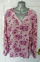 ❤ ANISTA Size 18 - 20 Pink Purple Floral Stripe Oversized Shirt Blouse Top