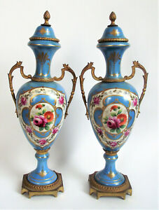 "Antique PAIR 19th FRENCH SEVRES Style 12"" URN VASE Painted BLUE PORCELAIN Ormolu"