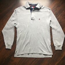 Vtg Tommy Hilfiger Flag Polo Sz M Waffle Thermal Sweater Pullover 90s Long Slv