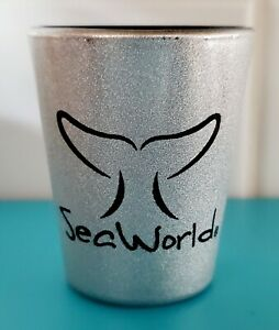 Vintage Sea World shot glass sparkly gray whale tail Libbey