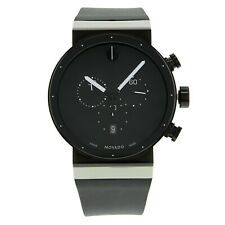 Movado Sapphire Synergy Steel Rubber Black on Black Quartz Mens Watch 0606501