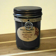 8 oz. Blackberry Sage Handmade Natural Soy Wax Wood Wick Jelly Jar Black Candle