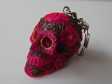 Porte Clés Crane Rose Fushia Sugar Blossom Skull Le jour des morts 6 cm **NEUF**