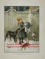 DOGS Trying to Steal Christmas Dinner Young Girl Cook, 1880s Antique Color Print
