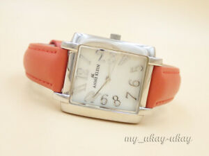 ANNE KLEIN 10/9375 Mother Of Pearl Dial Red Leather Band Ladies Dress Watch