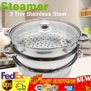 3Tier Steamer Cooker Steam Pot Set Stainless Steel Kitchen Cookware Hot Pot 27CM