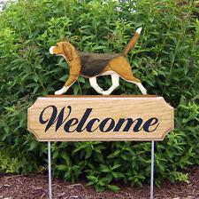 Beagle Welcome Sign Outdoor Oak Wood Yard Sign Tri