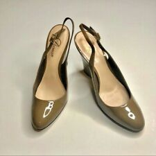 Delman Fargo Slingback Wedges Patent Leather Shoes Tan Khaki Size 8 Pointy Toe