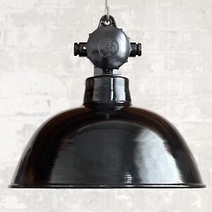 """Original Vintage Enamel Industrial Factory Lamp """"EMATRE-S"""" Hemispherical Ø 38 cm"""