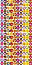 Childs bottlecap flowers, stars, hearts & shapes on round stickers! 200 stickers