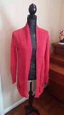 Eileen Fisher red knit Linen Open Cardigan Sweater Tunic Top Shirt Jacket medium
