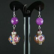AU SELLER Purple Natural Jade & Murano Glass Lampwork Silver earrings 030487