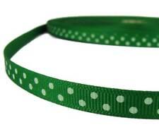 "5 Yds Green White Confetti Swiss Polka Dot Grosgrain Ribbon 3/8""W"