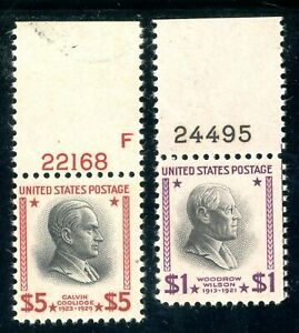 USAstamps Unused FVF US 1938 $1-5 Presidential Plate # Scott 832, 834 OG MNH