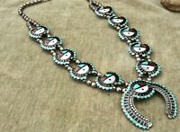 "vin ZUNI STERLING ""SUN FACE"" TURQUOISE CORAL ETC SQUASH BLOSSOM NECKLACE AWESOME"