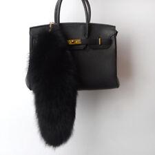 "Large Black Fox Tail Real Fox Fur Tail Keychain Fur Tassel Handbag 40cm/16"" US"