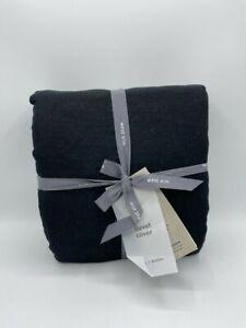 New West Elm European Belgian Flax Linen Full/Queen Duvet Cover ~Black~
