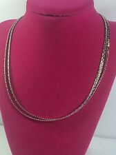 "White Metal Double-Strand  Necklace 16"" - C39*"
