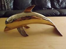 Large 12 Inch Brass Dolphin Vintage Sculpture Very Nice Made in India