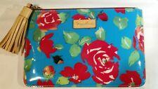 Dooney & Bourke Aqua Floral Leisure Vinyl Cosmetic Bag NWOT