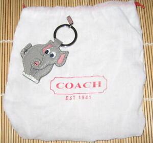 Coach Signature Gray ELEPHANT Fob Key Ring Keychain Leather Authentic