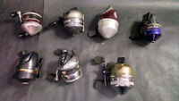 Lot of 7 Vintage Zebco and Similar-Style Fishing Reels, UNTESTED, AS PICTURED
