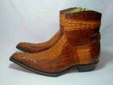 Boots crocodile boots brown leather handmade, size 42 EU
