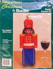 "12"" Bottle Cover Christmas Toy Soldier Plastic Canvas Kit  6511 Bucilla Vintage"