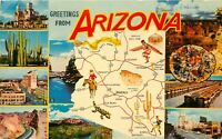 Old Chrome Postcard Arizona I040 Greetings from AZ Multiview Grand Canyon Tucson