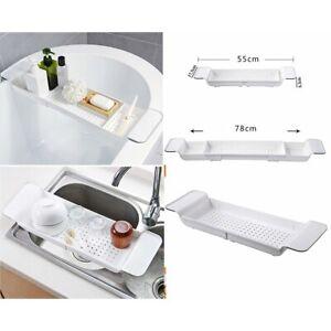 Extendable Bath Rack Tub Bathroom Shelf Tray Storage Caddy Organiser Blue Canyon