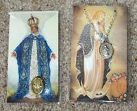 Vintage religious medal lot of 2 on prayer cards Pope John Paul Virgin Mary