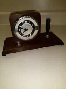 Vintage Parker Fountain Pen Wood Desk Set with Lux Clock 1930s 1940s