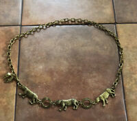 VTG Gold Tone Leopard Belt Link Boho Adjustable Statement