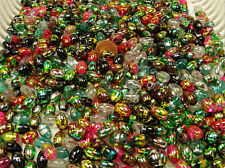 1/2 POUND LOT ASSORTED COLOR COSMIC SWIRL GLASS BEADS OVAL (0108201611)