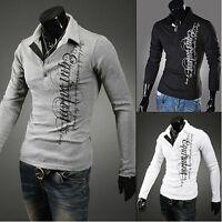 Fashion Mens Stylish Polo Shirt Long Sleeve Tops Casual T-shirts Slim Fit Gift