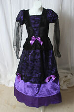Girl's deluxe Halloween Witch costume Kids Purple  Witch Dress costume L 10/12