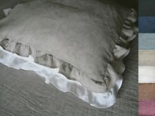 100% Linen Pillowcase All-Sided Ruffle, Ruffled Frilled Sham Different Colors