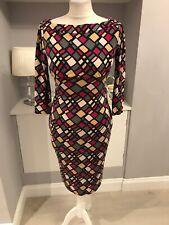 diane von furstenberg Pink Grey Black 3/4 Sleeve Thick Silk Sheath Dress Sz 10