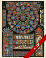 STAINED GLASS CATHEDRAL OF NOTRE DAME PARIS REIMS REAL CANVAS ART PRINT
