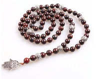 Mens Ladies Necklace Pendant Stone Beads with Hamsa Hand Mala Buddhist Style