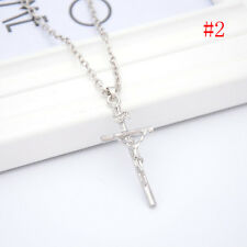 Stainless Steel Gold JESUS CROSS Crucifix Pendant Rope Chain Necklace Hot Sale