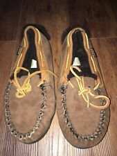 Cabela's Brown Leather Shearling Sheepskin Moccasin Slipper Size Women 8 M Suede