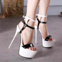 Women's Super High Heels Platform Stiletto Pump Ankle Strap Sandal Party Shoes#