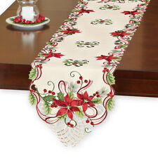 Pretty Poinsettia & Berries Christmas Table Linens