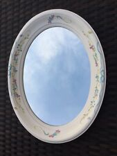 """Beautiful Mills River Oval Wall Mirror by N. Ferrari Painted Flower 15"""" NEW"""