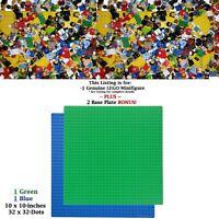 "1 Genuine LEGO Minifigure. +BONUS: 1-Green & 1-Blue 10x10"" compatible Base Plate"