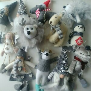 GREY & WHITE fabric CHRISTMAS TREE DECORATIONS **choose design** NEW CoCo&Ned