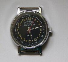 Rere Russian Soviet Mechanical Watch 24 hours Raketa  North pole black dial