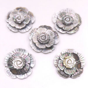5 PCS 45mm Pendant Jewelry Shell 3 layers Flower Natural Black Mother of Pearl